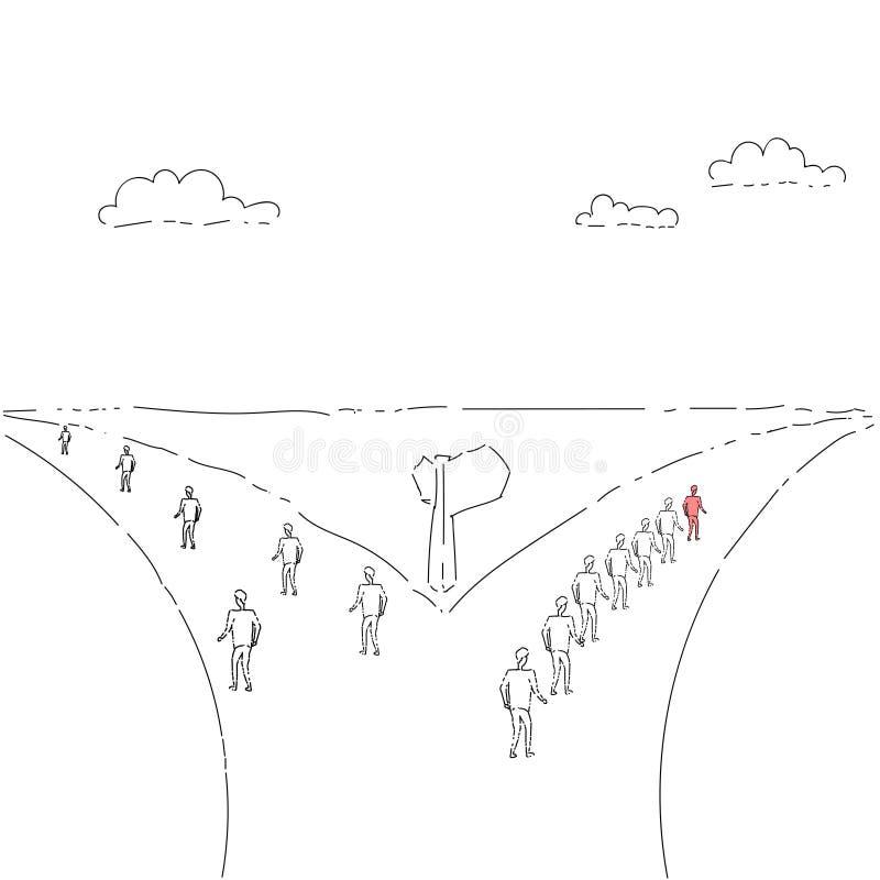 Grupo de hombres de negocios que caminan en Rad Direction Choosing Concept libre illustration