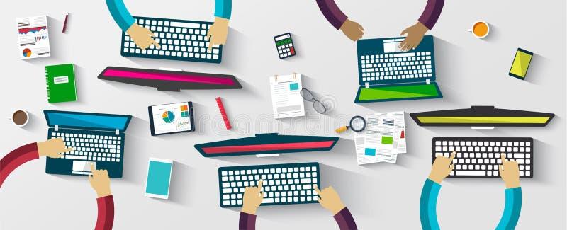Grupo de hombres de negocios que trabajan usando los dispositivos digitales ilustración del vector