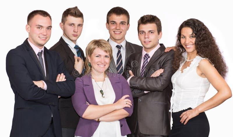 Grupo de hombres de negocios sonrientes Aislado encima imagen de archivo