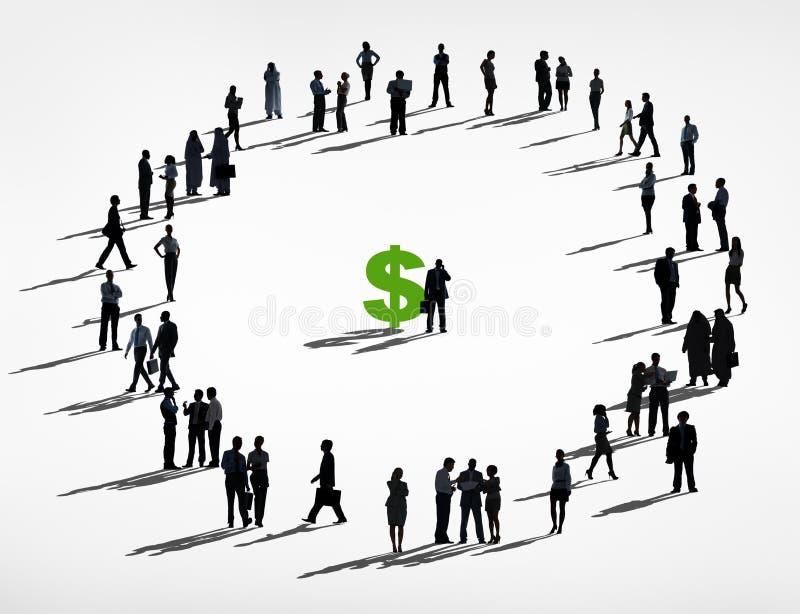 Grupo de hombres de negocios y de muestra de dólar ilustración del vector