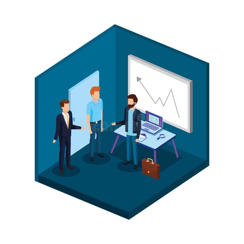 Grupo de hombres en los avatares de la oficina ilustración del vector