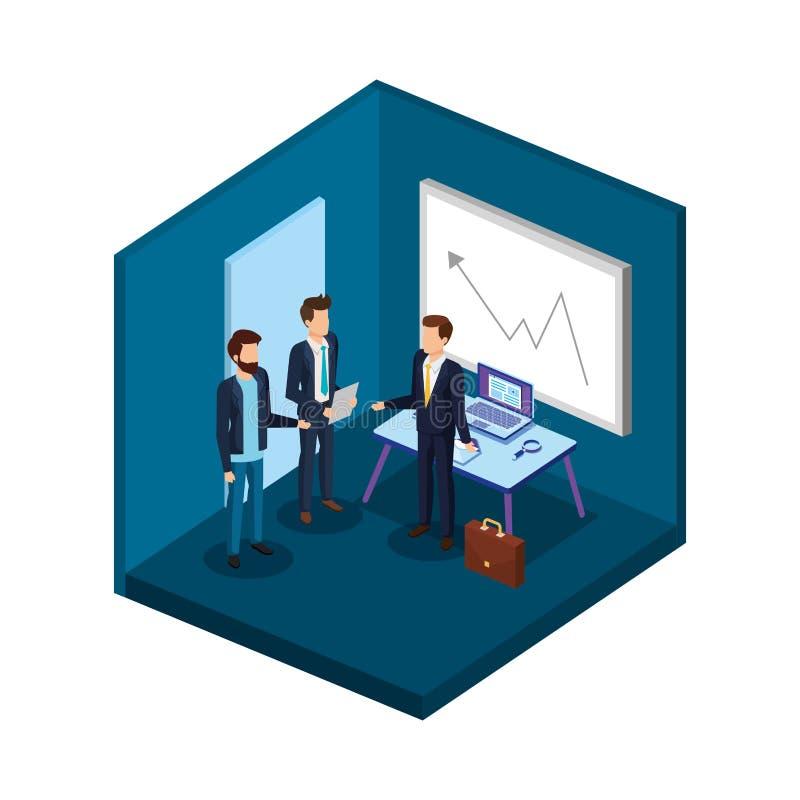 Grupo de hombres en los avatares de la oficina stock de ilustración
