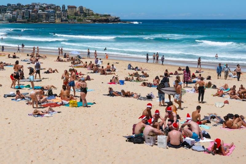 Grupo de hombres jovenes que llevan los sombreros de Papá Noel el Nochebuena en la playa Sydney Australia de Bondi imagen de archivo