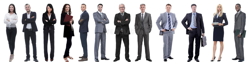 Grupo de hombres de negocios acertados aislados en blanco imagen de archivo