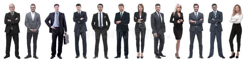 Grupo de hombres de negocios acertados aislados en blanco imagenes de archivo