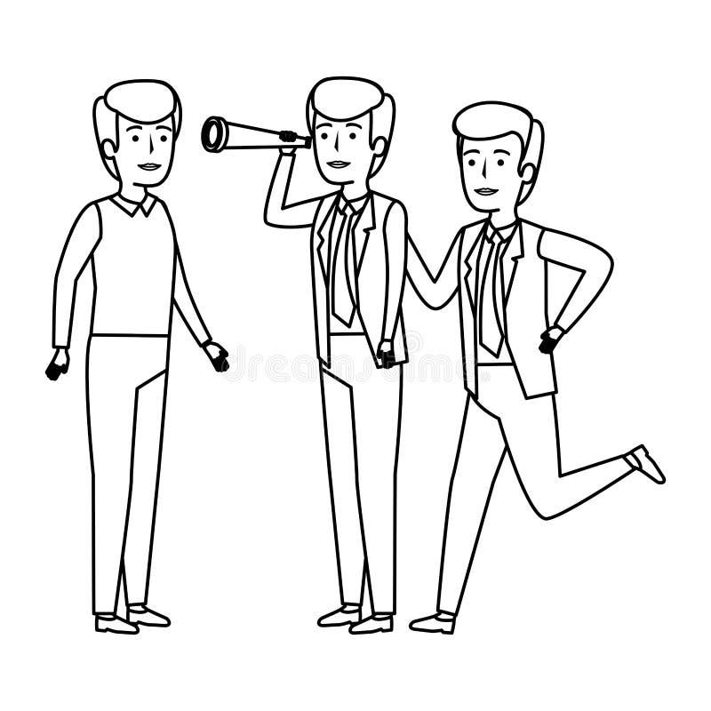 Grupo de hombres de negocios con el telescopio stock de ilustración