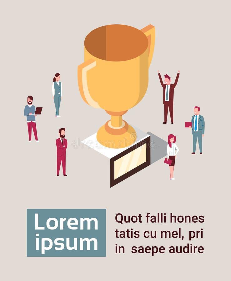 Grupo de hombres de negocios felices sobre la taza de oro Team Success Concept Isometric libre illustration