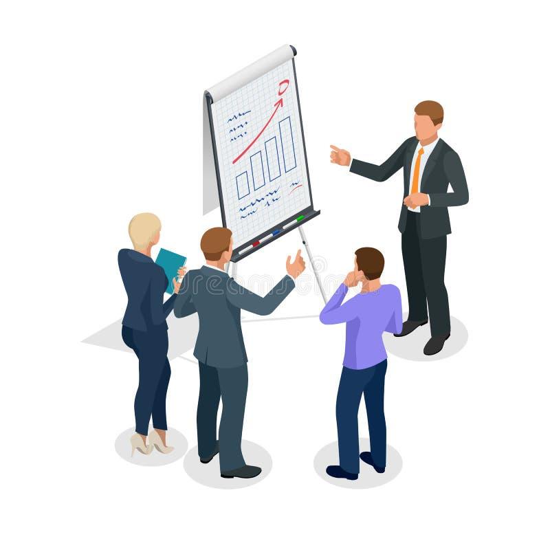 Grupo de hombres de negocios isométrico que miran el gráfico en flipchart stock de ilustración