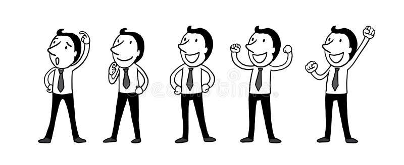 Grupo de hombres de negocios la mano aislada del esquema del ejemplo del vector dibujada garabatea la línea historieta del arte libre illustration