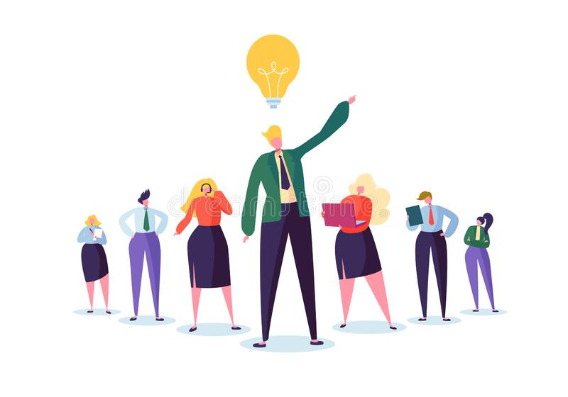 Grupo de hombres de negocios de los caracteres con el líder Concepto del trabajo en equipo y de la dirección Hombre de negocios a stock de ilustración