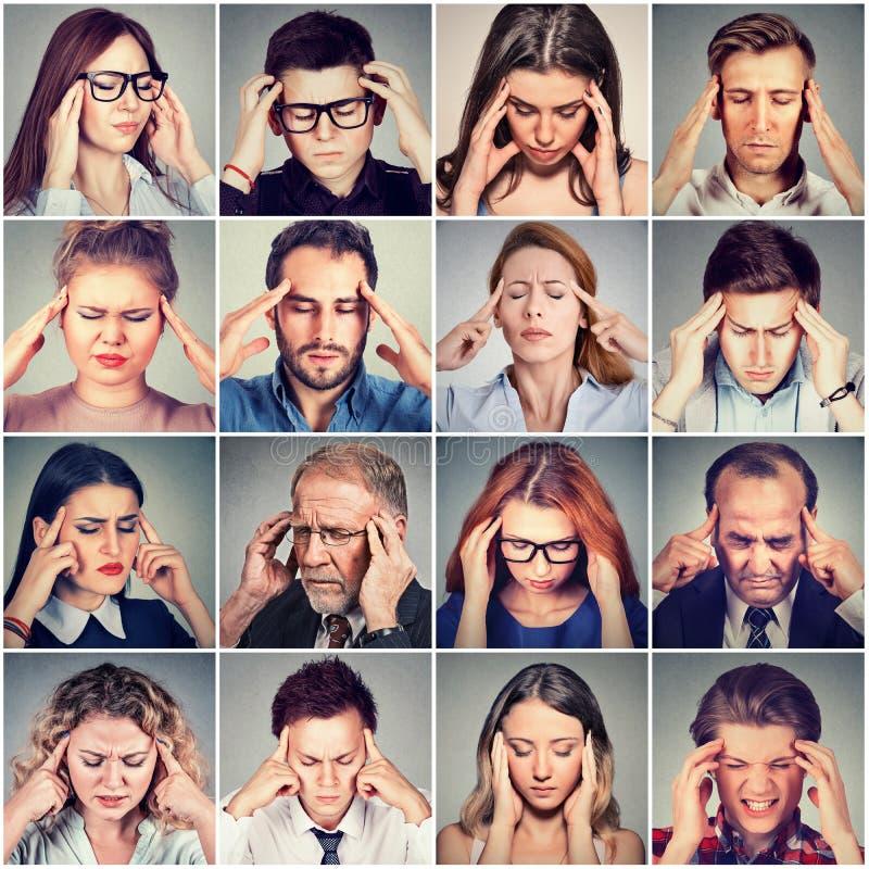 Grupo de hombres subrayados y de mujeres tristes de la gente que tienen dolor de cabeza imagen de archivo