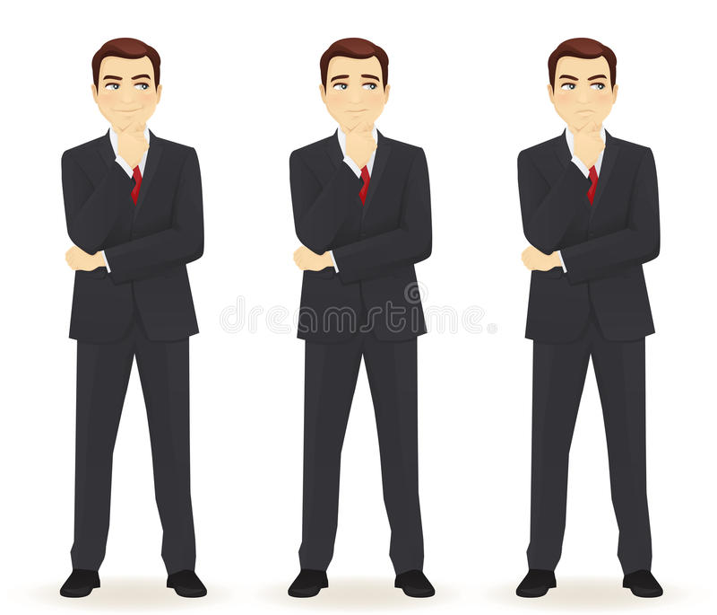 Grupo de homem de negócio pensativo ilustração stock