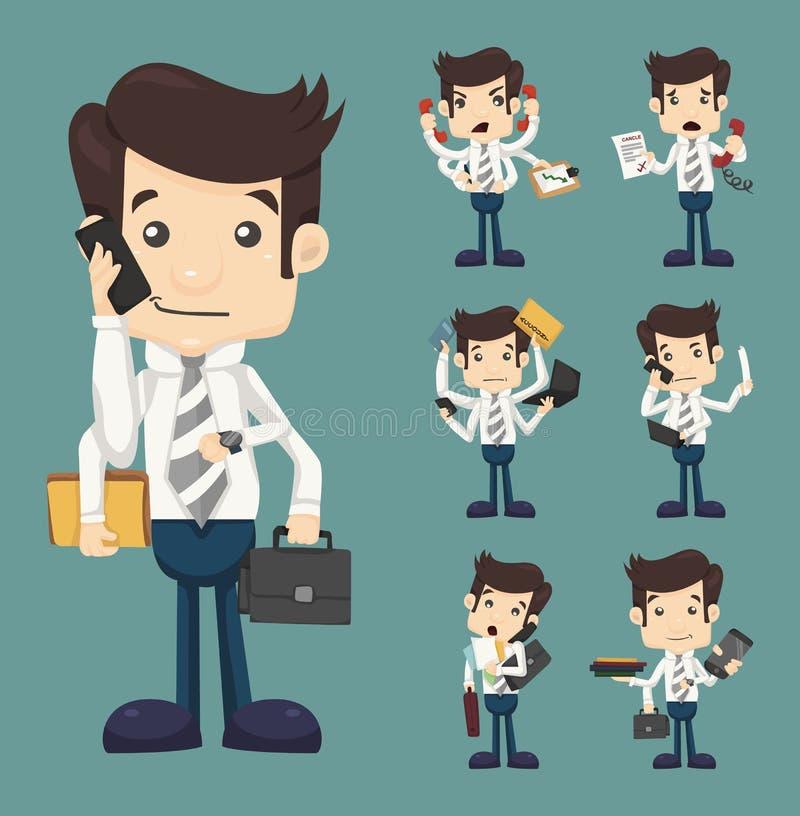 Grupo de homem de negócios com muitas mãos na posse elegante do funcionamento do terno ilustração royalty free