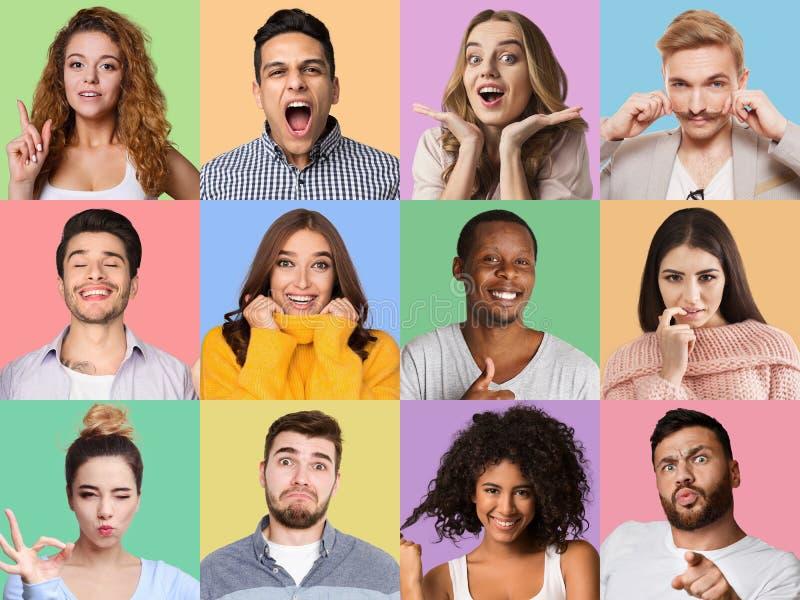Grupo de homem e de retratos emocionais fêmeas foto de stock royalty free