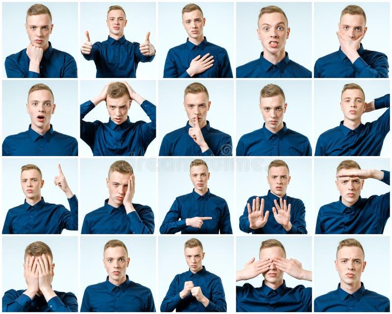 Grupo de homem emocional considerável isolado fotografia de stock royalty free