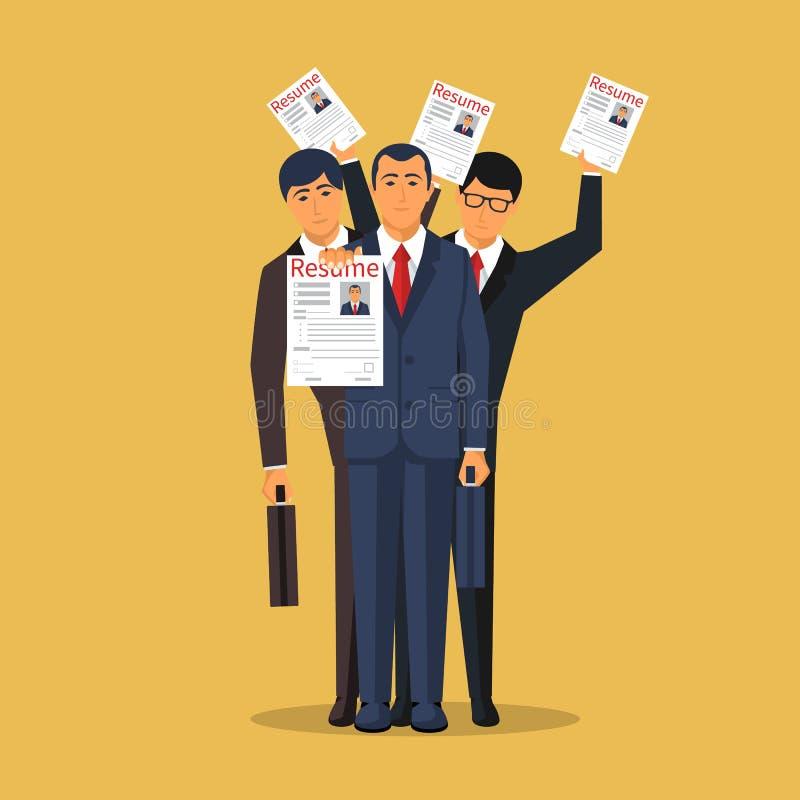 Grupo de homem de negócios que procura o trabalho ilustração do vetor
