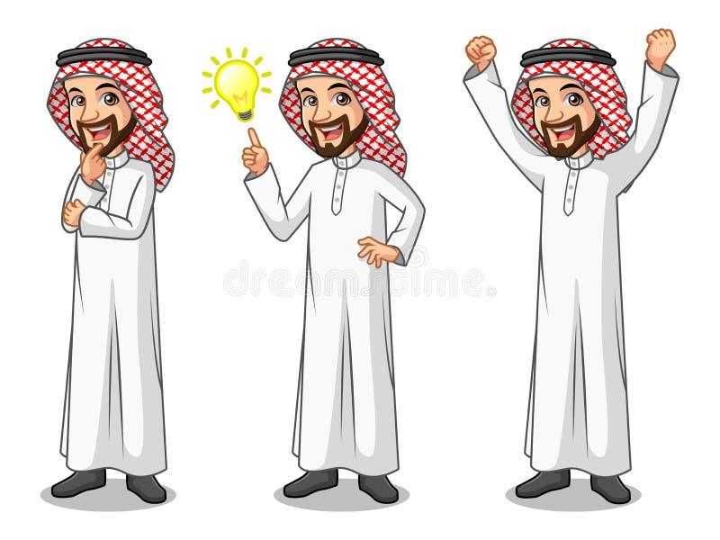 Grupo de homem de negócios Saudi Arab Man que obtém o gesto das ideias ilustração do vetor