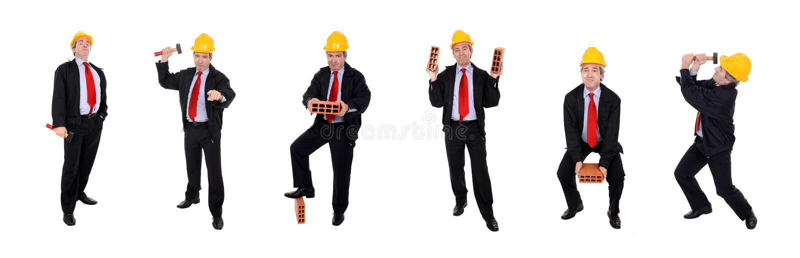 Grupo de homens com capacete de segurança fotos de stock royalty free