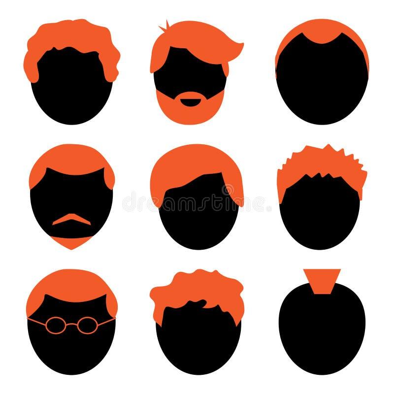 Grupo de homens da cara, avatar do vetor ilustração royalty free
