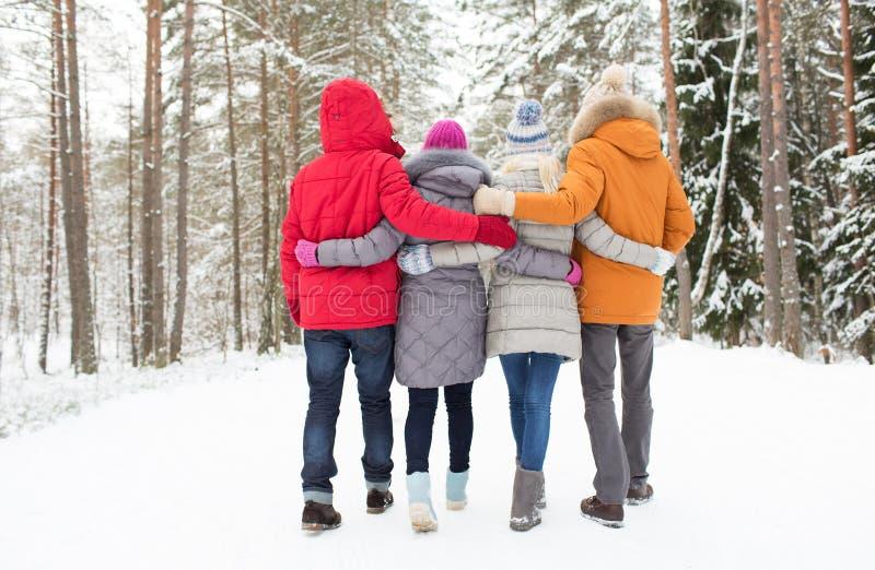 Grupo de homens e de mulheres felizes na floresta do inverno fotografia de stock