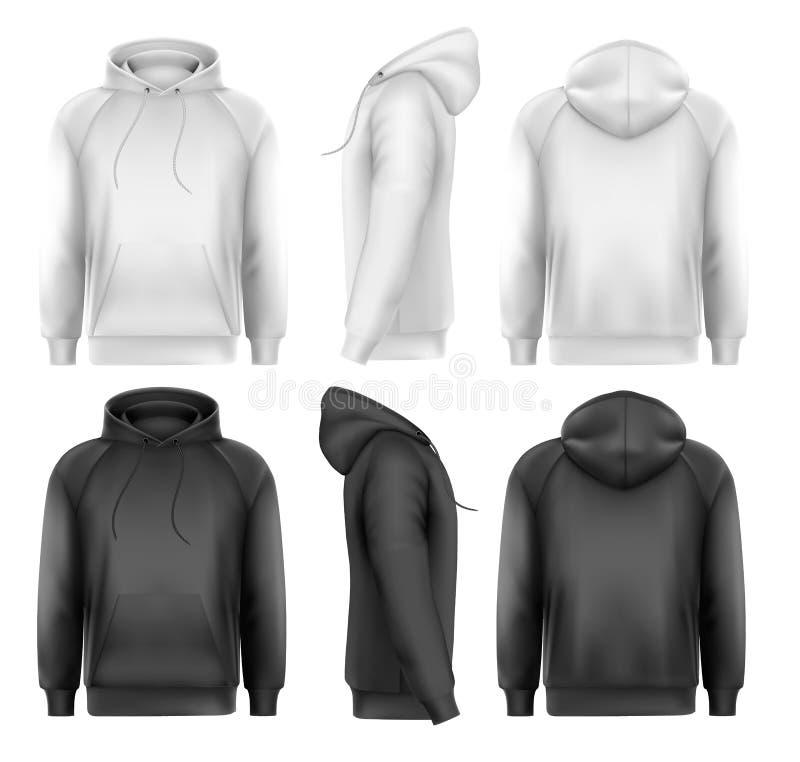 Grupo de hoodies masculinos preto e branco com espaço do texto da amostra ilustração do vetor