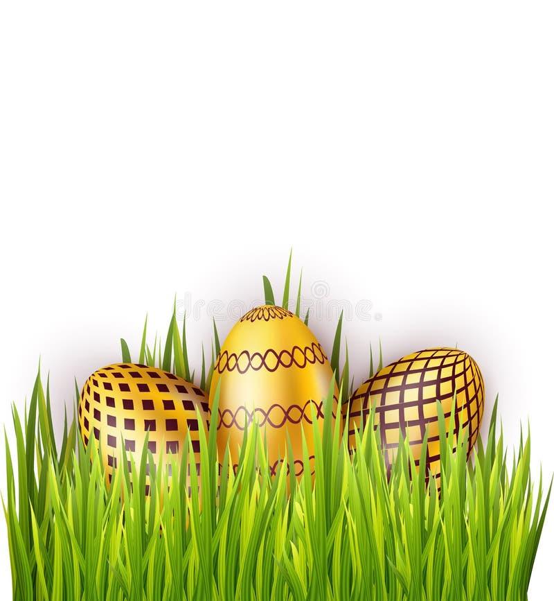 Grupo de huevos de Pascua con el modelo aislado en el fondo blanco con el campo de hierba verde libre illustration
