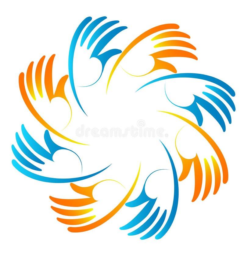 Grupo de icono esperanzado de las manos stock de ilustración