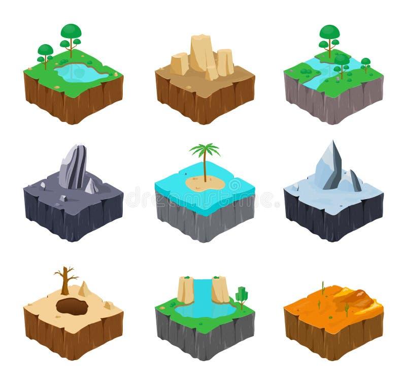 Grupo de ilhas isométricas do jogo Lago bonito, rio, rocha, rio, ilha, gelo, deserto, cachoeira, lugar da garganta colorido ilustração stock