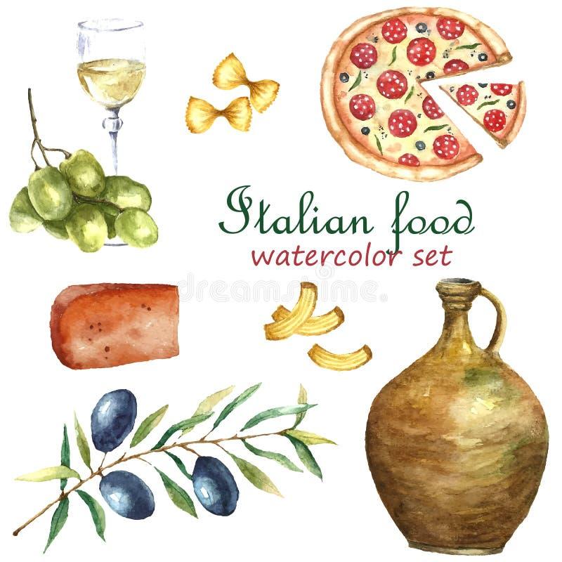 Grupo de ilustração da aquarela dos ícones do alimento de Itália ilustração do vetor