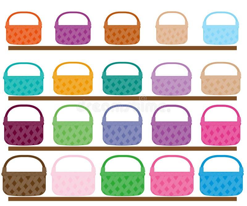 Grupo de ilustração diferente das cestas da cor e do tamanho ilustração do vetor