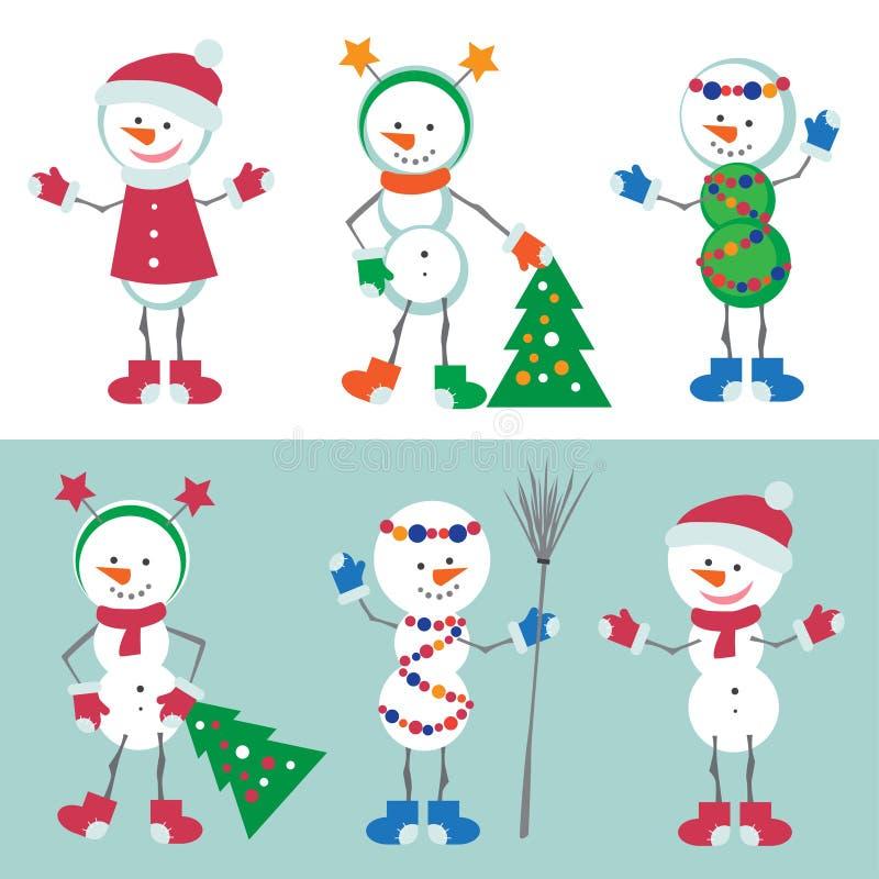 Grupo de ilustração do vetor do boneco de neve Caráter do homem da neve com árvore de Natal, decorações do Xmas Isolado no Backg  ilustração royalty free