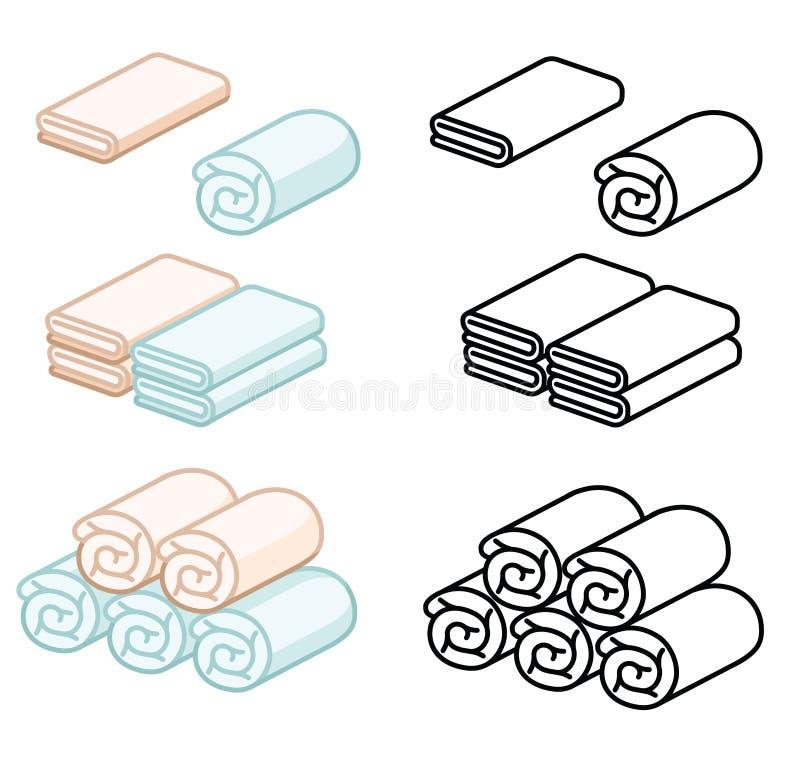 Grupo de ilustração do vetor de toalha Toalhas dobradas em desenhos animados e na linha lisos estilo do ícone Toalha macia da cor ilustração stock
