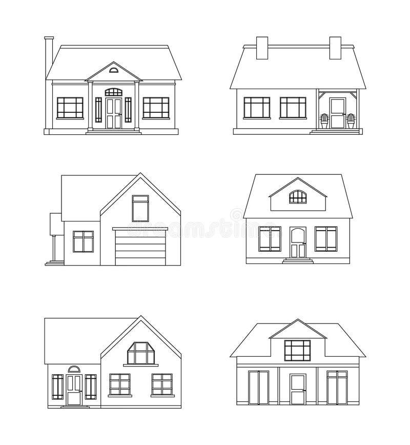Grupo de ilustração linear das casas de campo ilustração royalty free