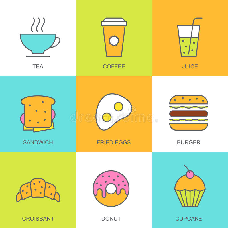 Grupo de ilustração lisa do alimento do vetor Ícones multicoloridos do café da manhã ilustração royalty free