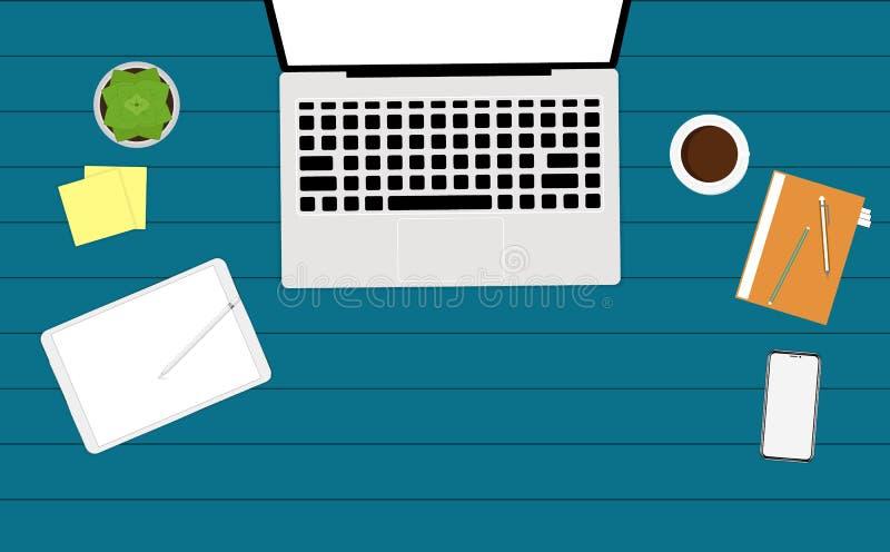 Grupo de ilustração lisa do projeto do vetor do escritório para negócios e do espaço de trabalho modernos ilustração stock