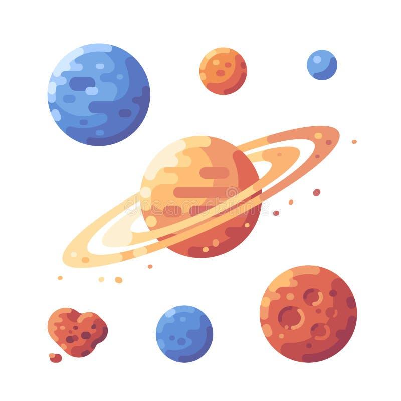 Grupo de ilustração lisa dos planetas O espaço objeta ícones lisos ilustração do vetor