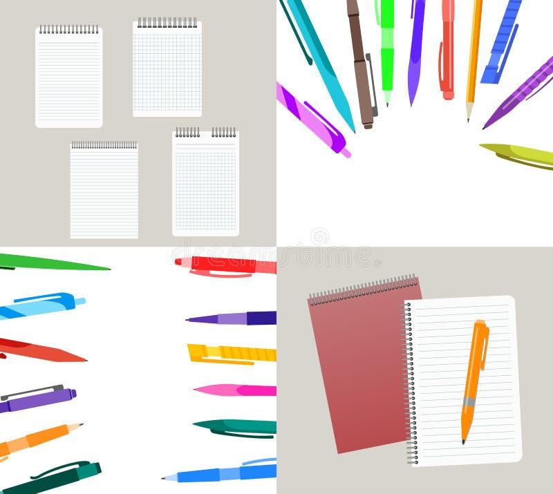 Grupo de ilustração de quatro vetores com cadernos ilustração do vetor