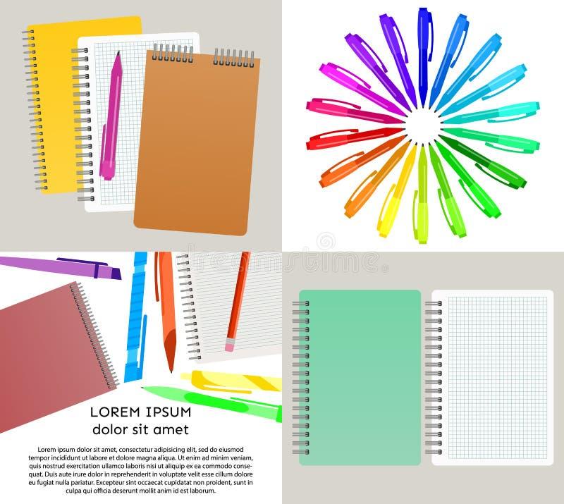 Grupo de ilustração de quatro vetores com cadernos ilustração royalty free