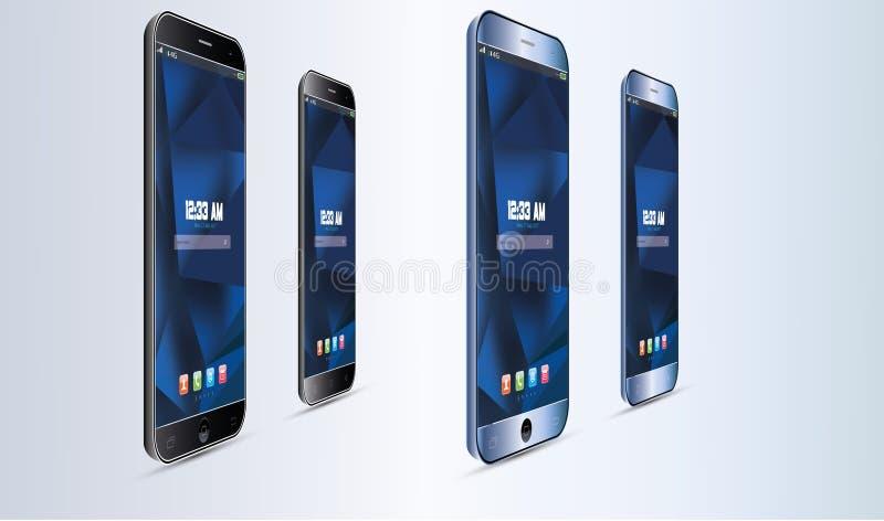 Grupo de ilustração realística do tela táctil do telefone celular de Android do vetor ilustração do vetor