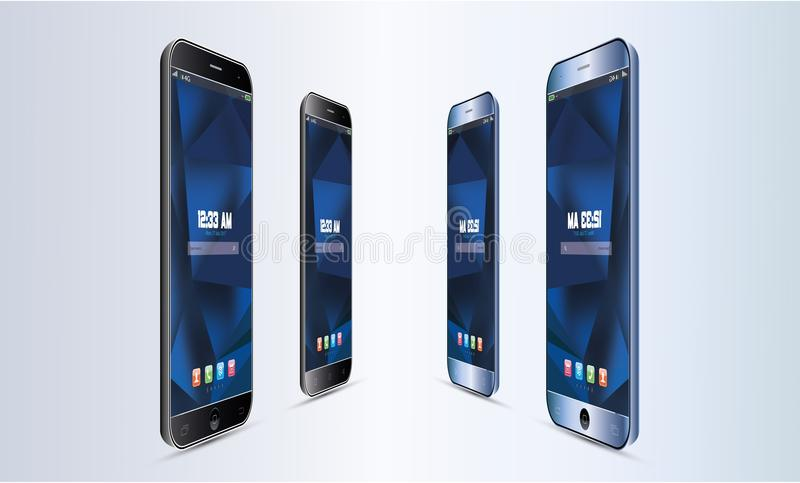 Grupo de ilustração realística do tela táctil do telefone celular de Android do vetor ilustração royalty free