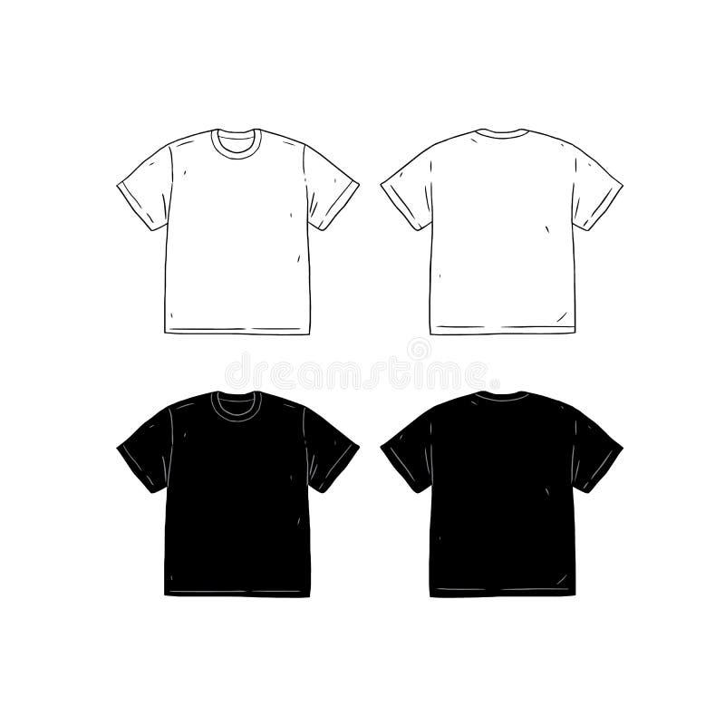 Grupo de ilustração tirada do vetor do molde do projeto do t-shirt mão vazia Lados dianteiros e traseiros da camisa T-shirt mascu ilustração stock