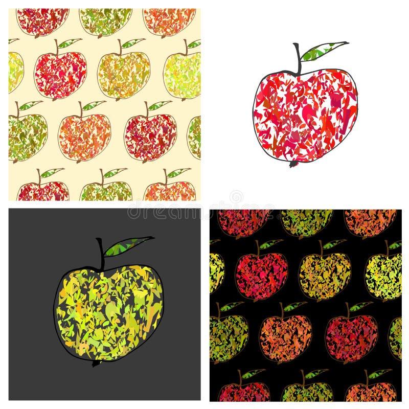 Grupo de ilustrações coloridas e de testes padrões do vetor ilustração stock