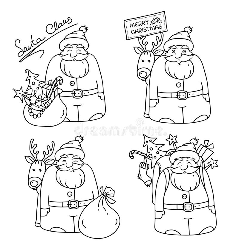 Grupo de ilustrações com Santa Claus e rena, saco, árvore de Natal, presentes e decorações do Natal esboços ilustração do vetor