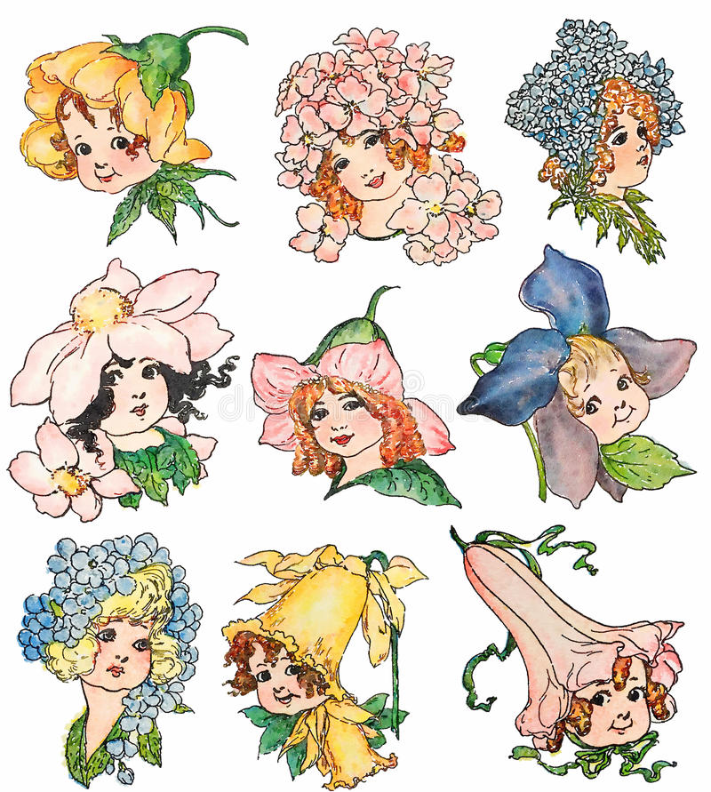 Grupo de ilustrações da fada da flor do estilo do vintage ilustração stock