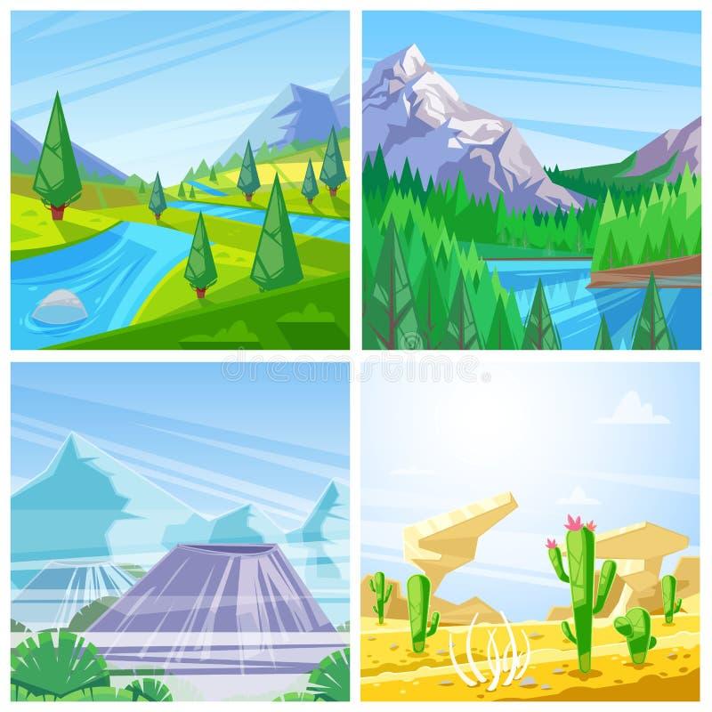 Grupo de ilustrações da paisagem do vetor Montanhas, montes verdes e opinião dos prados, do deserto e dos vulcões ilustração stock