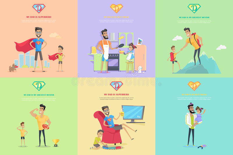 Grupo de ilustrações do conceito do tema da paternidade ilustração stock