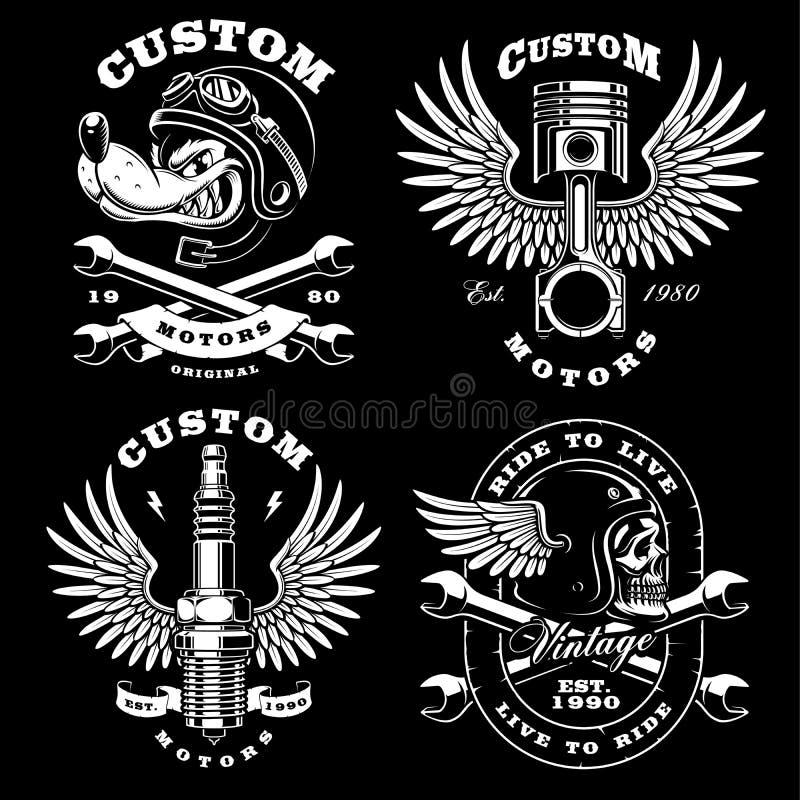Grupo de 4 ilustrações do motociclista do vintage em background_2 escuro ilustração royalty free