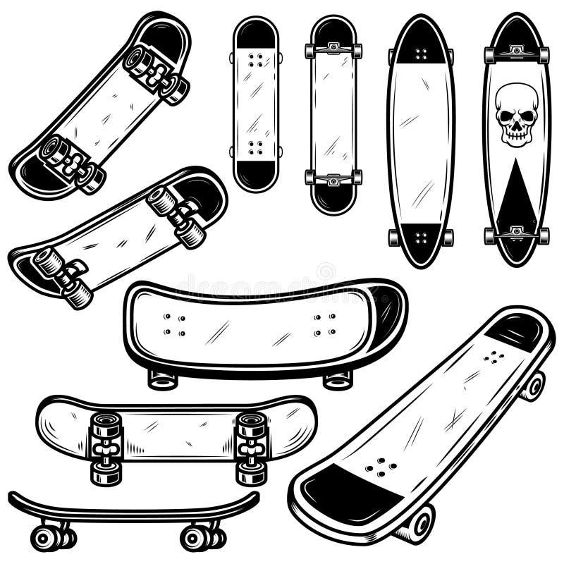 Grupo de ilustrações do skate e do longboard no fundo branco Projete o elemento para o logotipo, etiqueta, emblema, sinal, crachá ilustração royalty free