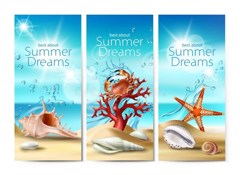 Grupo de ilustrações do vetor, bandeiras de um Sandy Beach do verão com conchas do mar, seixos, estrela do mar, caranguejo e cora ilustração royalty free