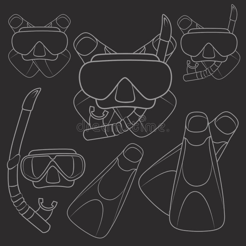 Grupo de ilustrações do vetor com aletas, máscara e tubo de respiração objetos ilustração stock